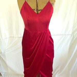 Satin Hi-Low Maxi Dress
